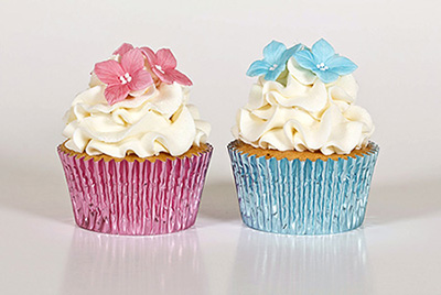 Baby Blue and Baby Pink foil cupcake cases